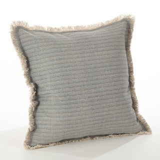 Canberra Collection Fringed Pinstriped Down Filled Cotton Throw Pillow