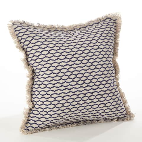 Canberra Collection Fringed Morrocan Down Filled Cotton Throw Pillow