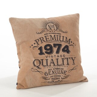 The Corium Collection Printed Design Leather Poly Filled Throw Pillow