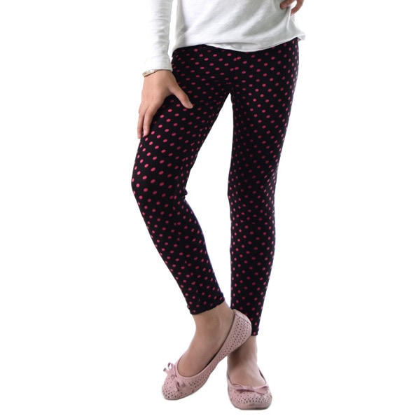 1ec7e7908375aa Shop Dinamit Girls' Red/Black Nylon and Spandex Polka Dot Legging - Free  Shipping On Orders Over $45 - Overstock - 12114888