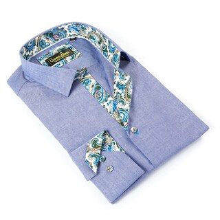 Banana Lemon Men's Blue Cotton Patterned Button-down Shirt