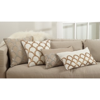 Posh Collection Arch Design Embroidered Cotton Down Filled Throw Pillow