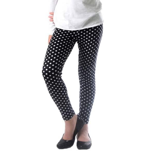 1707fe8d4ed1c8 Dinamit Girl's Black/White Nylon/Spandex Polka Dot Printed Leggings