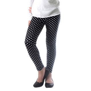 Dinamit Girl's Black/White Nylon/Spandex Polka Dot Printed Leggings