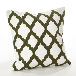 Pollice Verde Collection Crewel Work Design Down Filled Cotton Throw Pillow