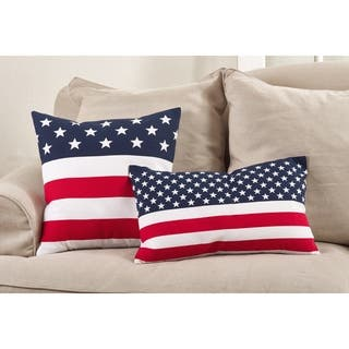 Star Spangled American Flag Design Cotton Down Filled Throw Pillow