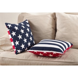 Star Spangled Collection Star & Striped Design Down Filled Cotton Throw Pillow