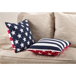 Star Spangled Collection Star & Striped Design Down Filled Cotton Throw Pillow (2 options available)