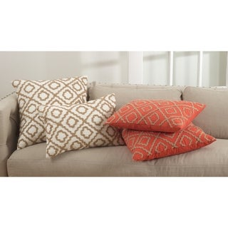 La Rochelle Collection Jute Embroidered Design Down Filled Cotton Throw Pillow
