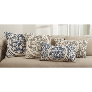 Montpellier Collection Floral Distressed Design Down Filled Cotton Throw Pillow