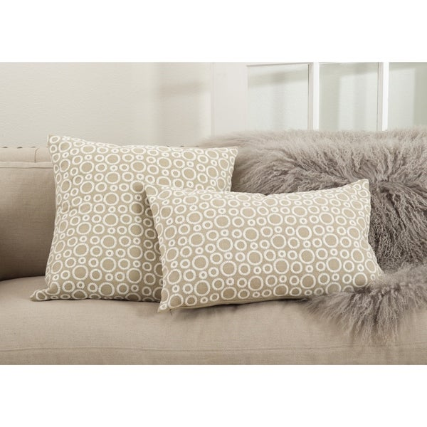 Leah Collection Circle Embroidered Design Down Filled Cotton Throw Pillow