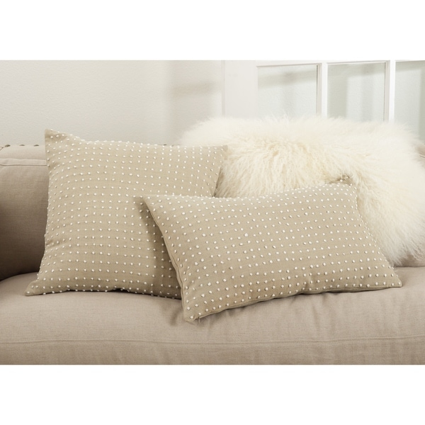Leilani Collection French Knot Design Down Filled Cotton Throw Pillow