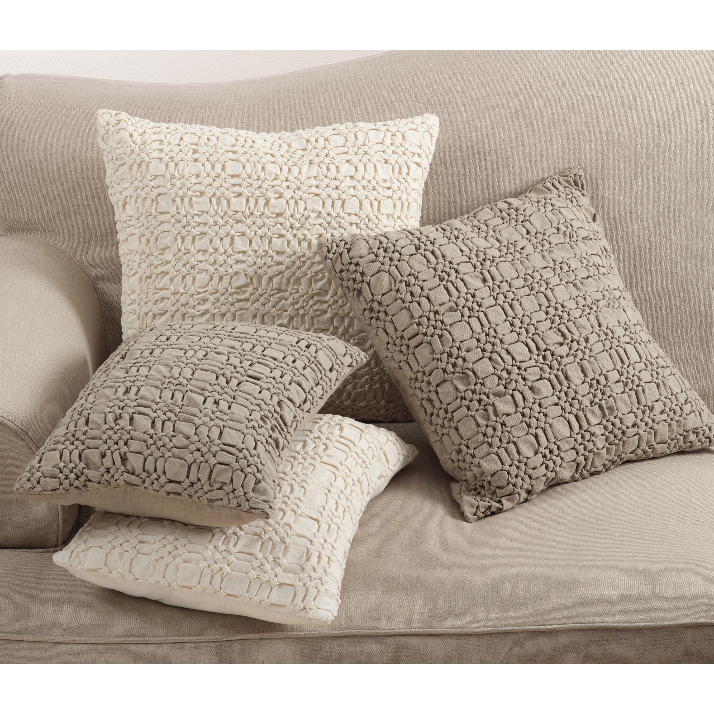 Brisbane Collection Smocked Design Down Filled Cotton Throw Pillow Overstock 12114941 14 X 20 Ivory
