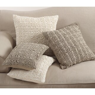 Brisbane Collection Smocked Design Down Filled Cotton Throw Pillow