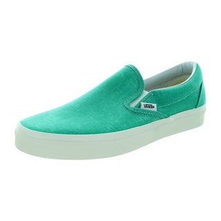 Vans Men's Classic Slip-On Washed Pool Green Canvas Skate Shoes (3.5)