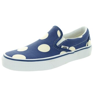 Vans Unisex Classic Slip-on Blue Canvas Polka Dots Skate Shoes