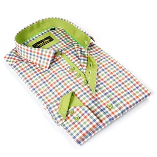 Banana Lemon Men's Green Cotton Patterned Button-down Shirt