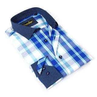 Banana Lemon Men's Blue Plaid Cotton Button-down Shirt