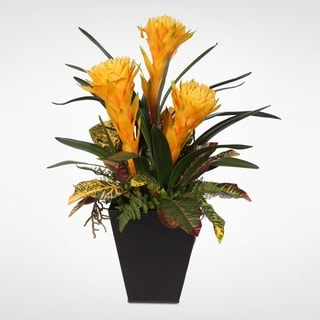 Colorful Tropical Faux Bromelia Plants in Metal Container