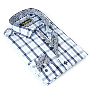 Banana Lemon Men's Blue Cotton Patterned Button-front Shirt