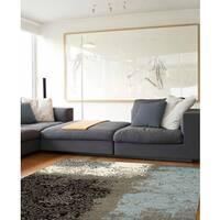 Confort Collection Blue/Grey Polypropylene Transitional Vintage Lace Rug (6'7 x 9'6)