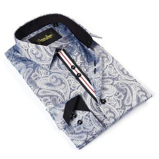 Banana Lemon Men's Grey Cotton Patterned Button-down Shirt