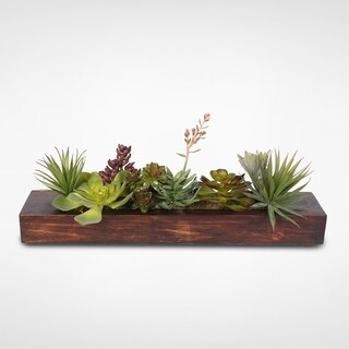 Decorative Succulent Arrangement in Pine Wood Rectangle Planter
