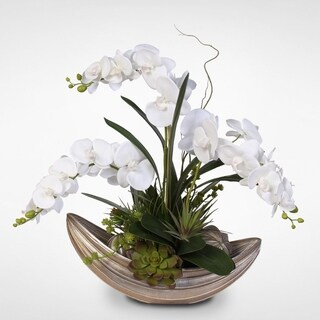 Real Touch White Phalaenopsis Orchid with Succulents in Nautilus Bowl with Spheres