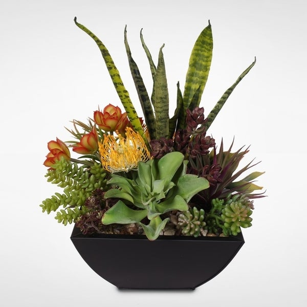 Shop Decorative Succulent Centerpiece In Metal Container