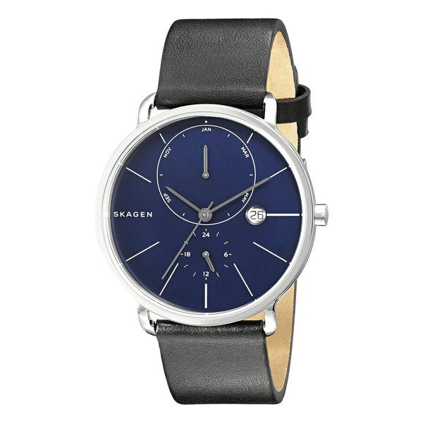 5f17368c64d Shop Skagen Hagen SKW6241Blue Mineral Dial Black Leather Stainless Steel  Men s Multifunction Watch - Free Shipping Today - Overstock - 12115046