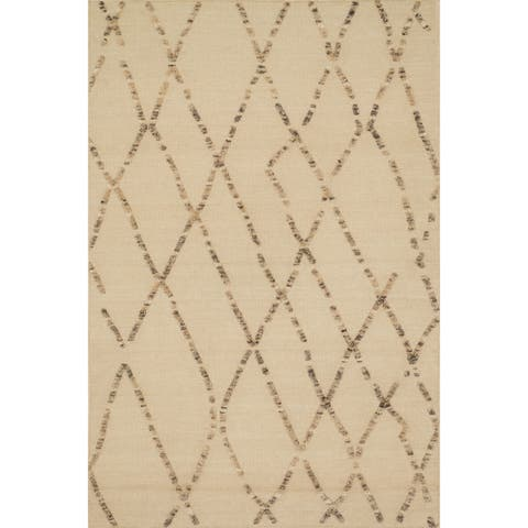 """Handcrafted Lennon White Sand Wool Rug - 7'9"""" x 9'9"""""""
