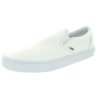 Vans Unisex Classic Slip-On White Leather Skate Shoes