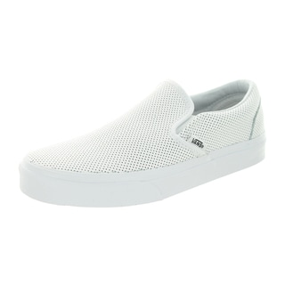 Vans Unisex Classic White Perforated Leather Slip-On Skate Shoe