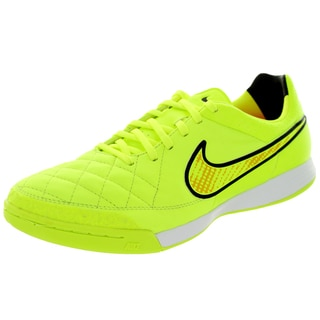 Nike Men's Tiempo Legacy IC Volt/Hyper Punch/Black Leather Indoor Soccer Shoes