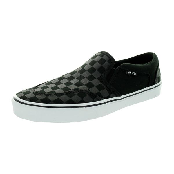e4f342e3e3c Shop Vans Men s Asher Checkers Black Canvas Skate Shoe - Free ...
