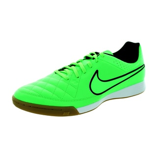 Nike Men's Tiempo Genio IC Green and Black Leather Indoor Soccer Shoes