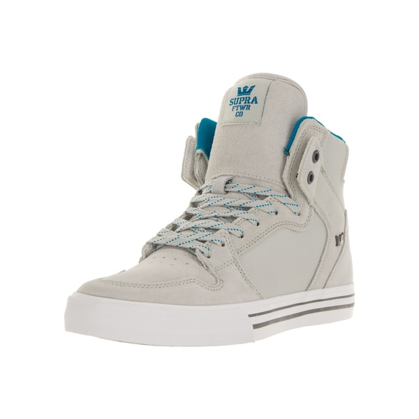 brand new 6e850 54f7f Supra Men  x27 s Vaider Light Grey Brilliant Blue White Leather Skate