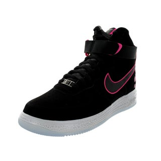Nike Men's Lunar Force 1 Hyp Hi Qs Black/Pink Foil Almond-style Toe Basketball Shoe