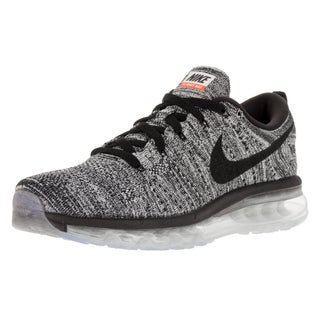 Nike Men's Flyknit Max White and Black Mesh Running Shoes