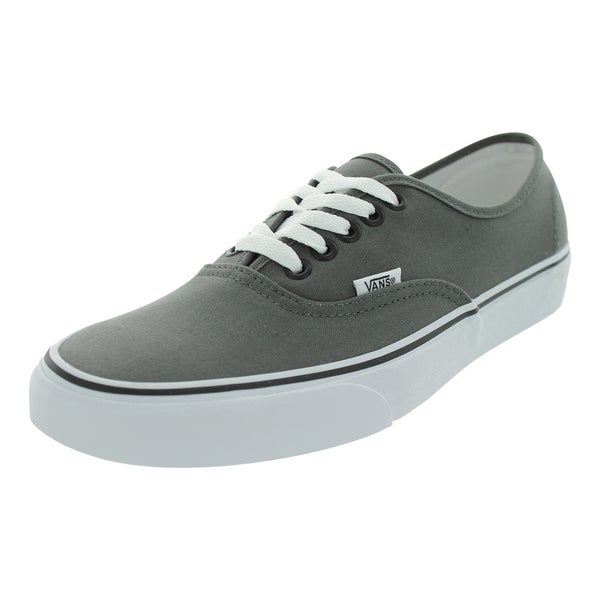 Shop Vans Men s Authentic Pewter Black Canvas Skate Shoes - Free ... bdc6e2a4e