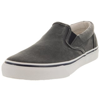 Sperry Men's Top-Sider Charcoal/Navy Canvas Striper Slip-on Casual Shoe