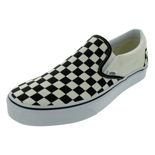 8f5532432d7669 Vans Unisex Classic Black and White Checkered Canvas Slip-on Skate Shoes