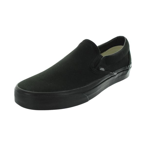 07a16011d2 Shop Vans Men s Black Canvas Classic Slip-on Skate Shoes - Free ...