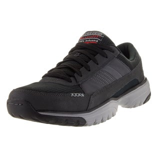 Skechers Men's Vantage Point Black Leather Walking Shoes