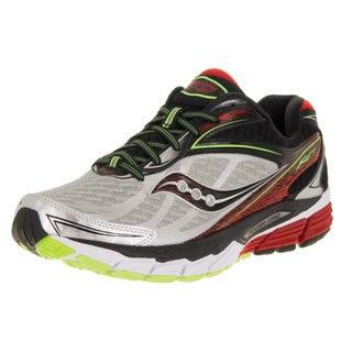 Saucony Men's Ride 8 Grey/Red/Green/Black Mesh Wide Running Shoe