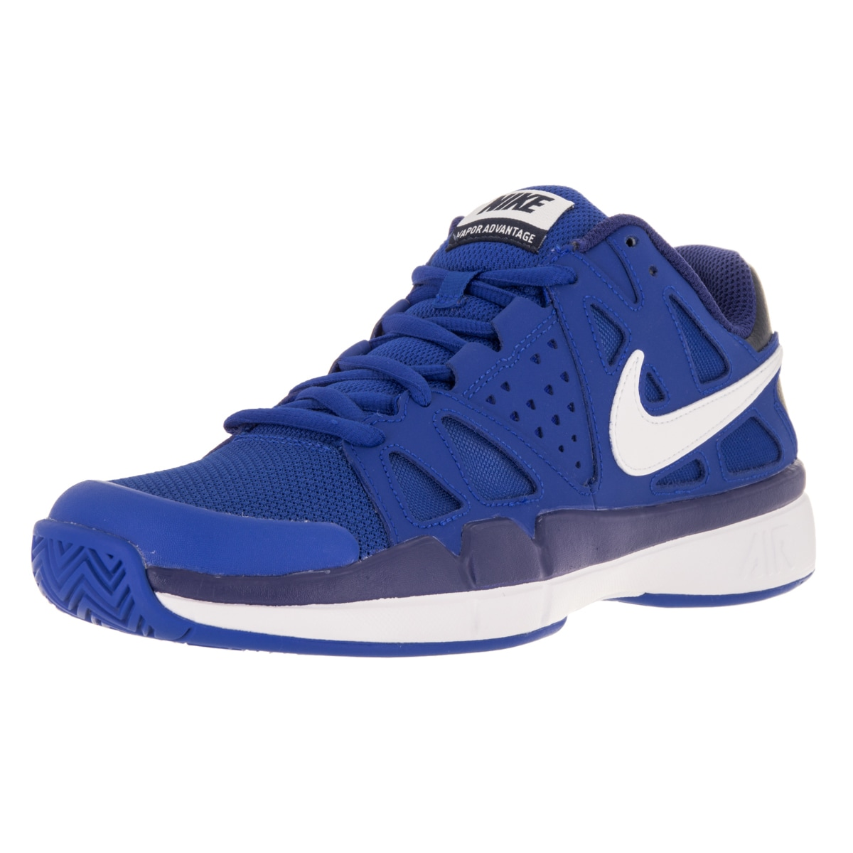 Nike Men's Air Vapor Advantage White and Royal Blue Mesh Tennis Shoes