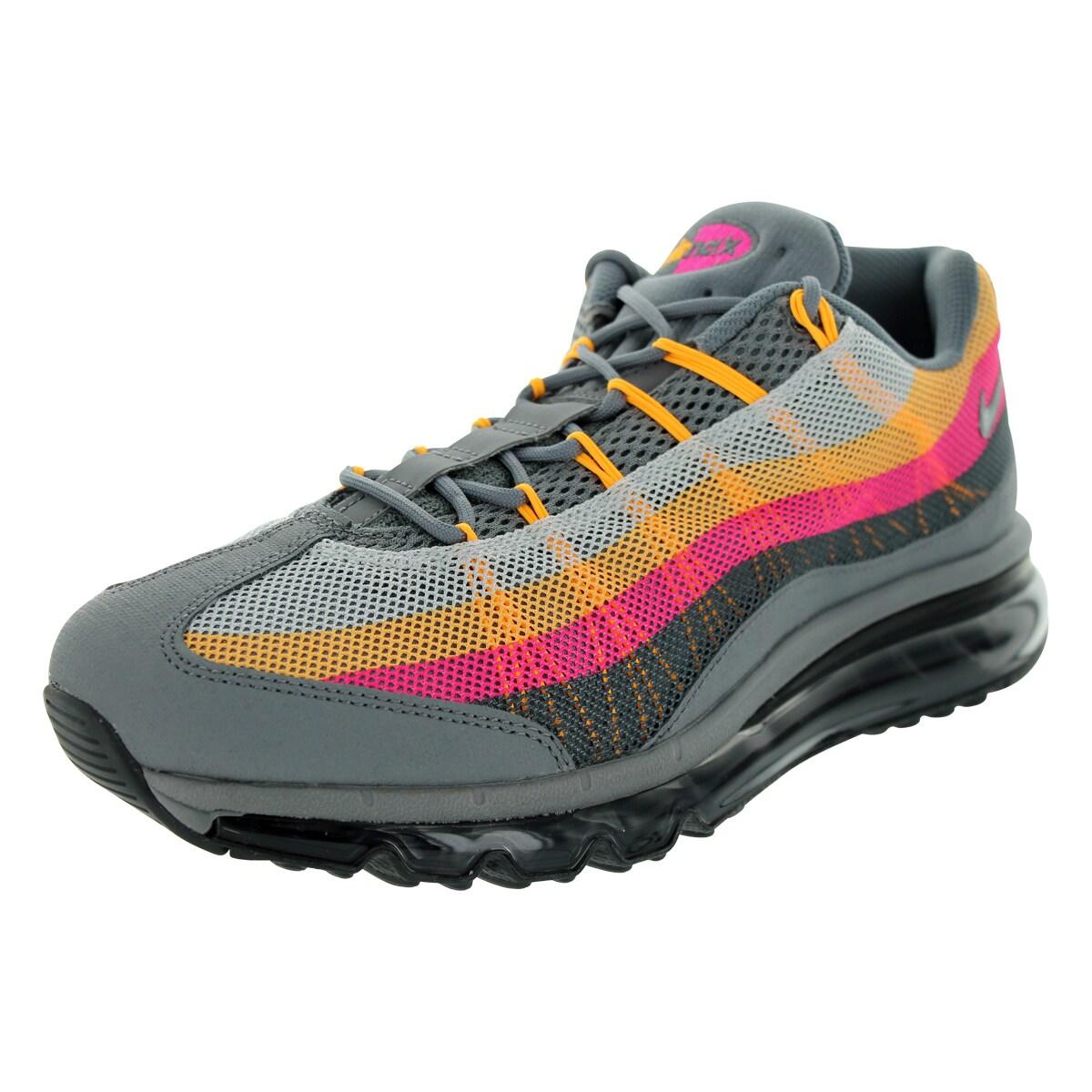 Nike Men's Air Max 95 Grey/Orange/Pink Mesh Running Shoes...