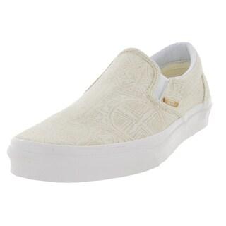 Vans Unisex Classic Slip-on Pacific Isle Natural Beige Canvas Skate Shoe