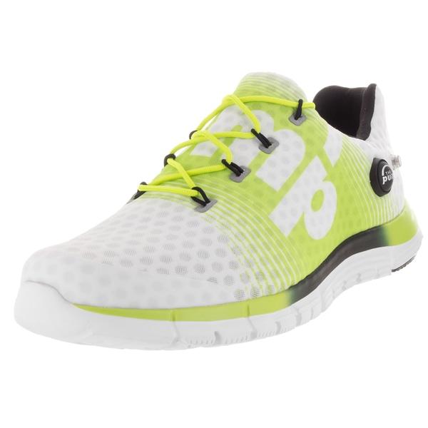 3c1f2b44efe3 Shop Reebok Men s ZPump Fusion White Yellow Black Mesh Running Shoe ...