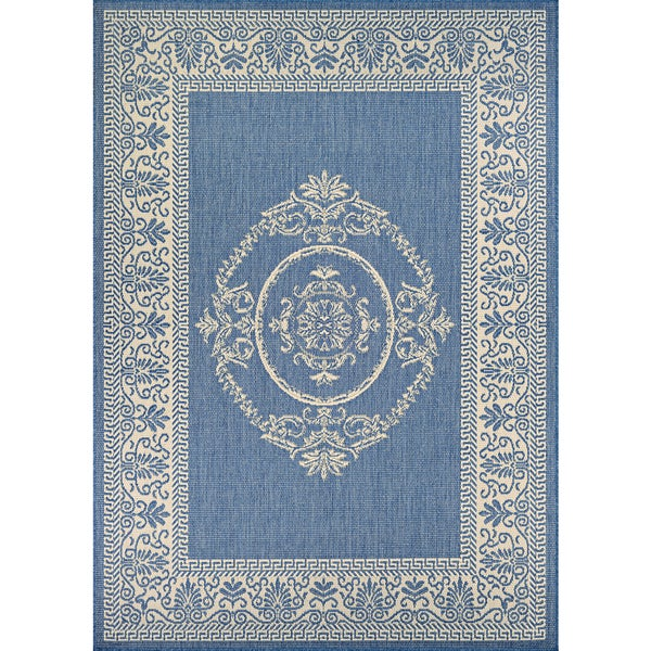 "Couristan Recife Antique Medallion Champagne/ Blue - 8'6"" x 13'"